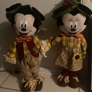 Scarecrow Minnie and Mickey Mouse